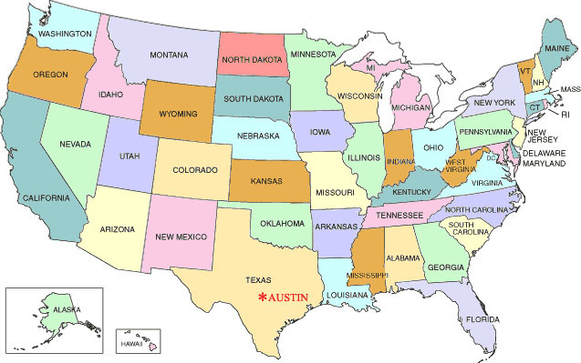 Texas On Map Of Usa.Austin Usa Map Europeancytokinesociety
